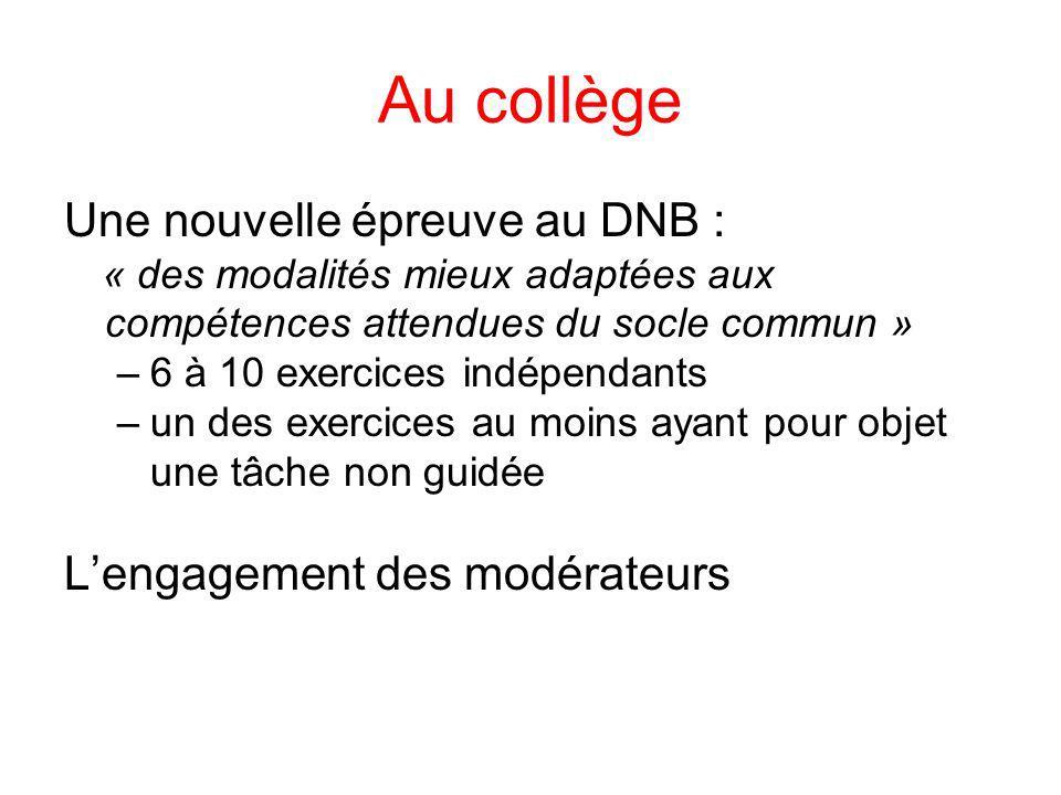 Au collège Une nouvelle épreuve au DNB : L'engagement des modérateurs