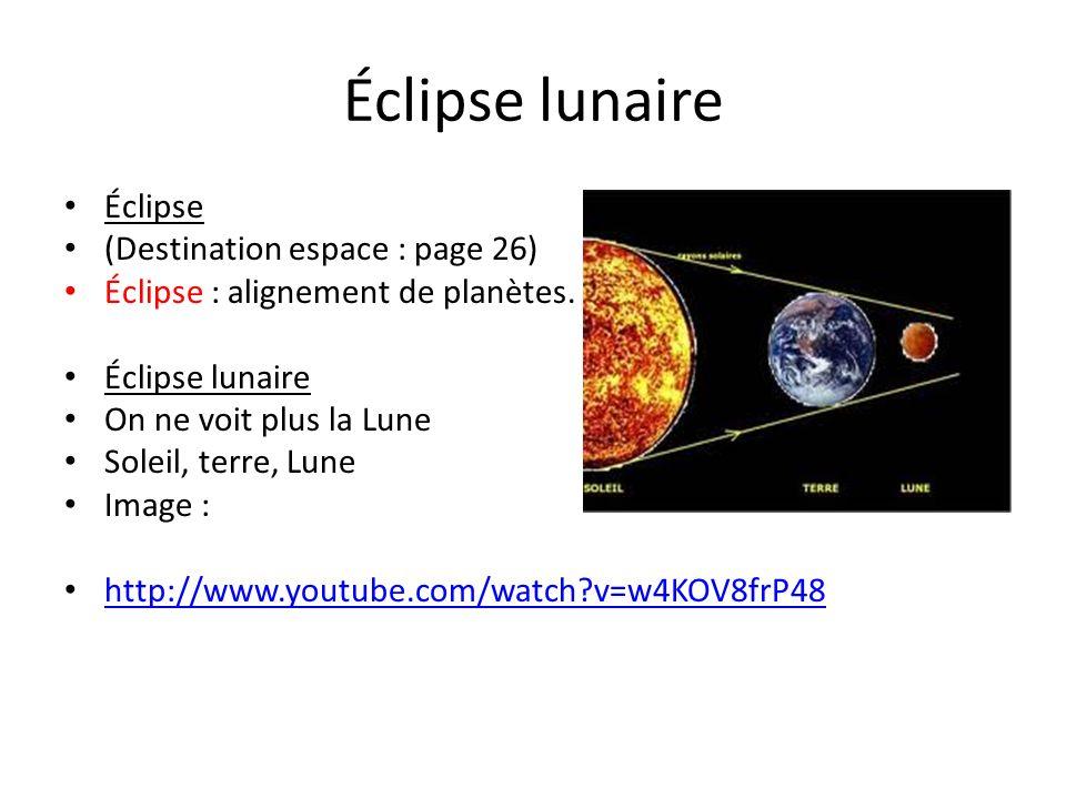 Éclipse lunaire Éclipse (Destination espace : page 26)