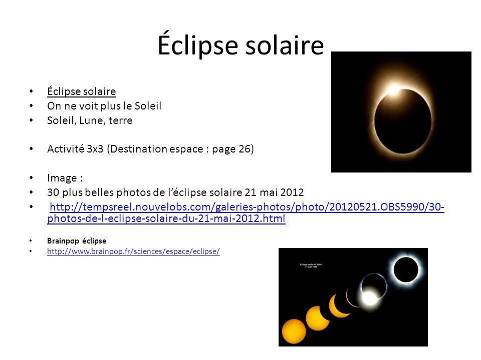 Éclipse solaire Éclipse solaire On ne voit plus le Soleil