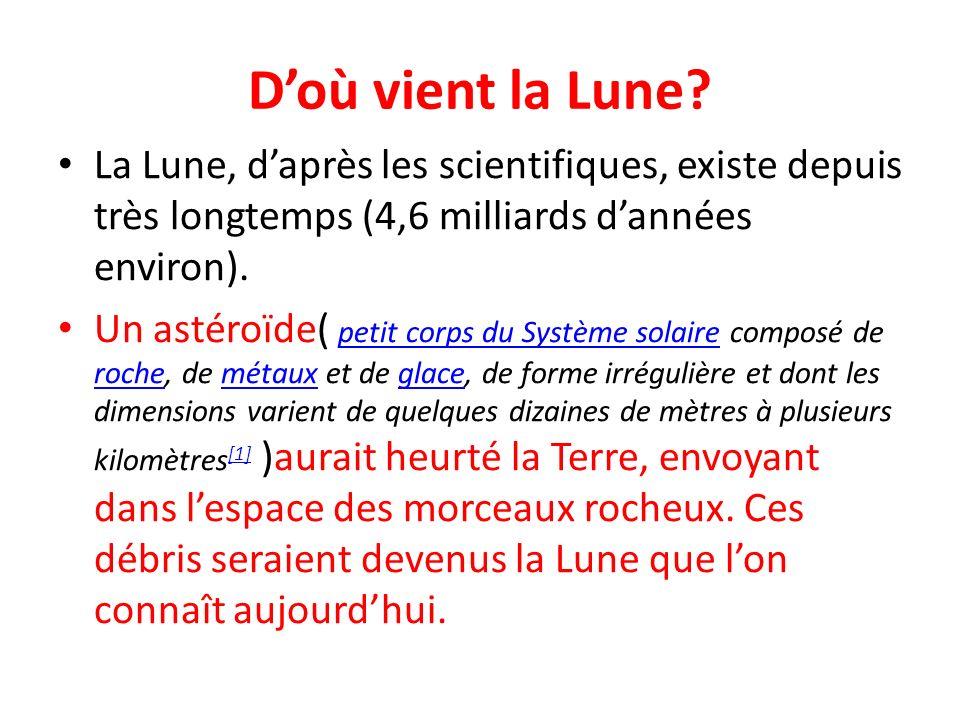 D'où vient la Lune La Lune, d'après les scientifiques, existe depuis très longtemps (4,6 milliards d'années environ).