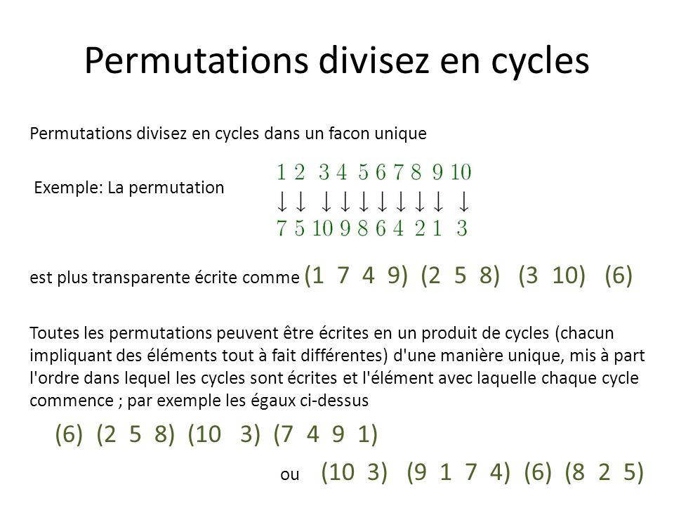 Permutations divisez en cycles
