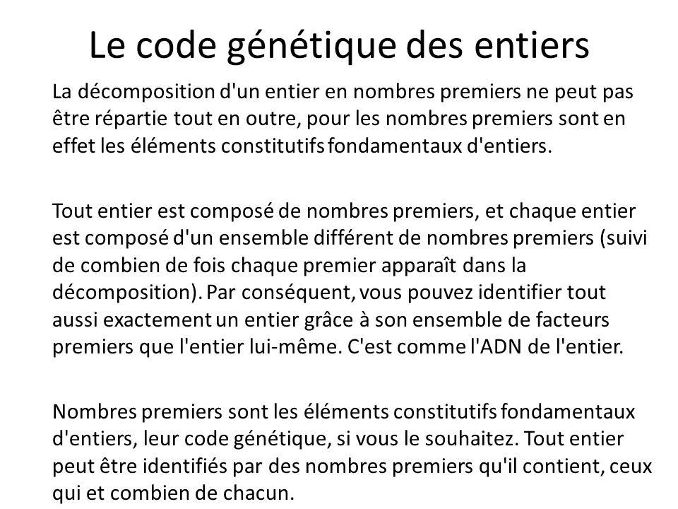 Le code génétique des entiers