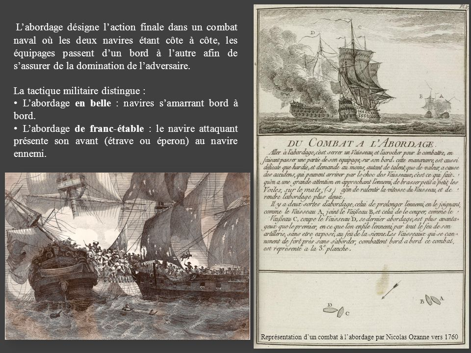 Représentation d'un combat à l'abordage par Nicolas Ozanne vers 1760