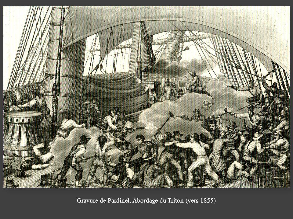 Gravure de Pardinel, Abordage du Triton (vers 1855)