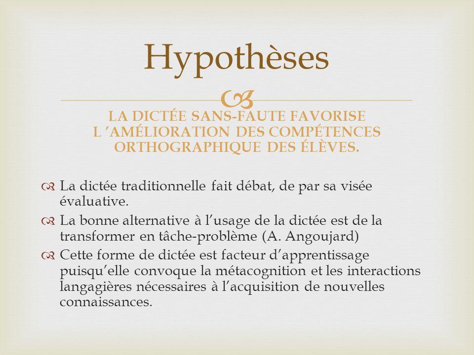Hypothèses LA DICTÉE SANS-FAUTE FAVORISE L 'AMÉLIORATION DES COMPÉTENCES ORTHOGRAPHIQUE DES ÉLÈVES.