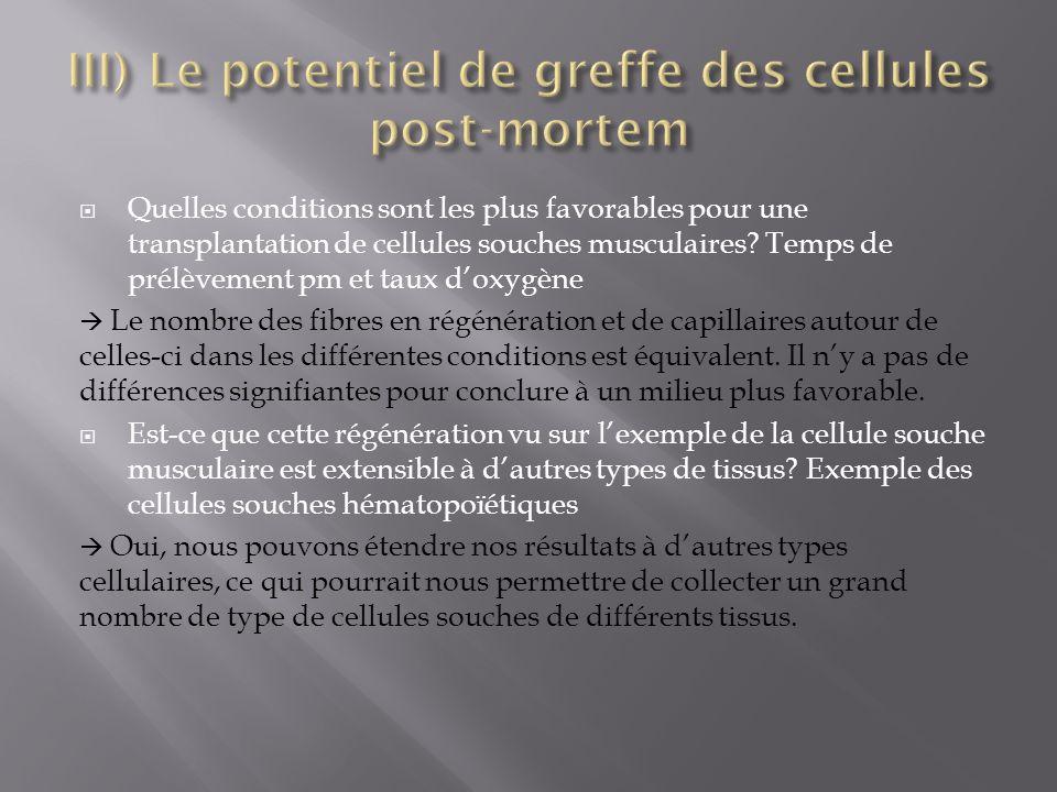 III) Le potentiel de greffe des cellules post-mortem