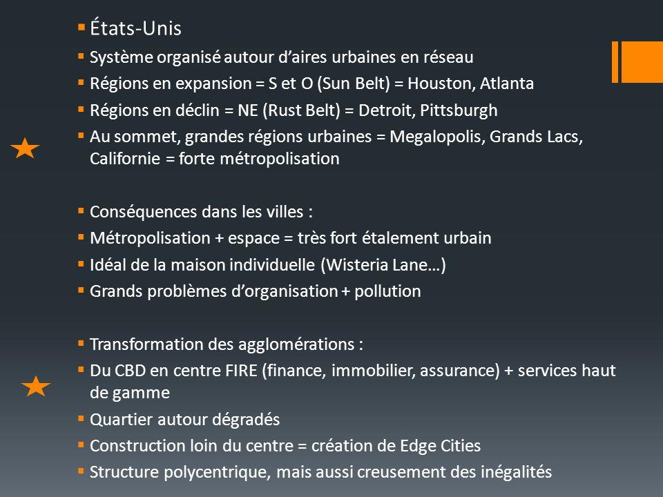 États-Unis Système organisé autour d'aires urbaines en réseau