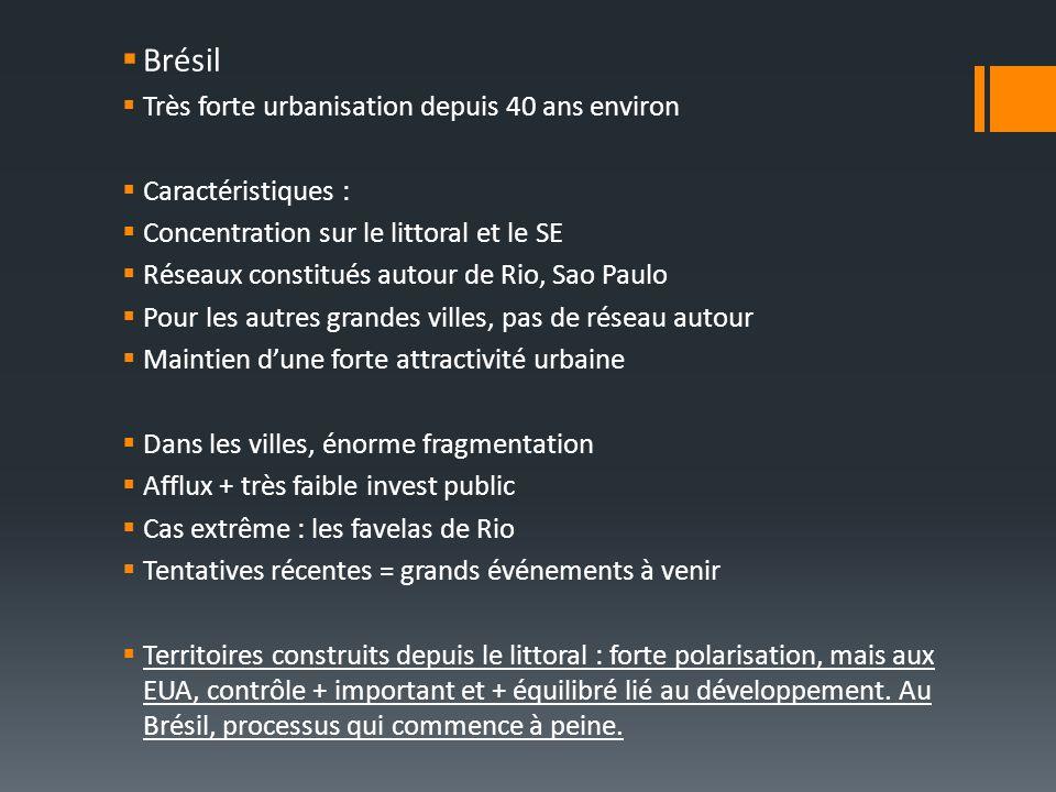 Brésil Très forte urbanisation depuis 40 ans environ