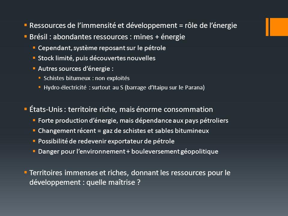 Ressources de l'immensité et développement = rôle de l'énergie