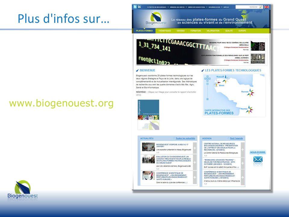 Plus d infos sur… www.biogenouest.org