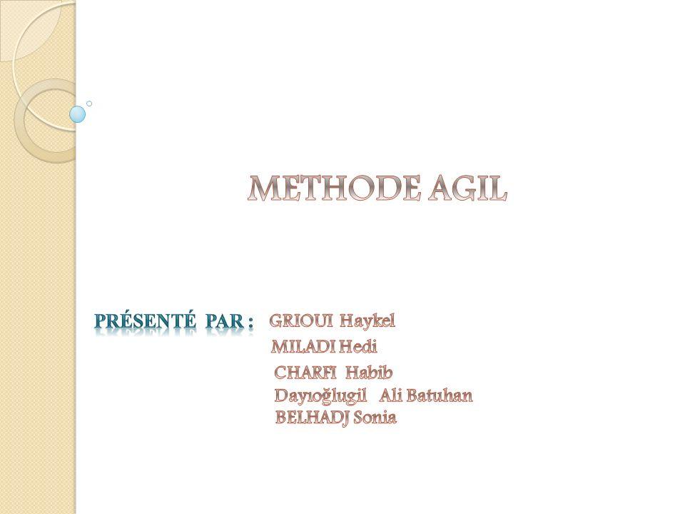 METHODE AGIL Présenté par : GRIOUI Haykel MILADI Hedi CHARFI Habib