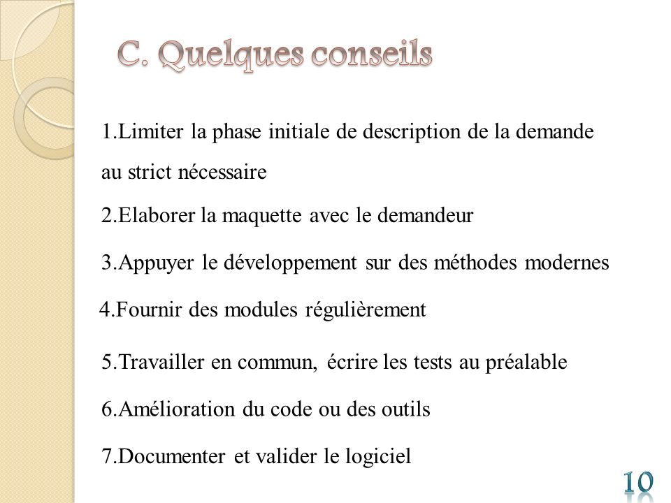 C. Quelques conseils 1.Limiter la phase initiale de description de la demande au strict nécessaire.