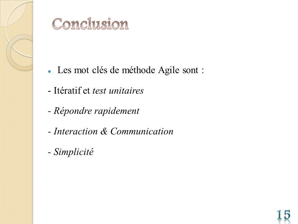Conclusion 15 Les mot clés de méthode Agile sont :