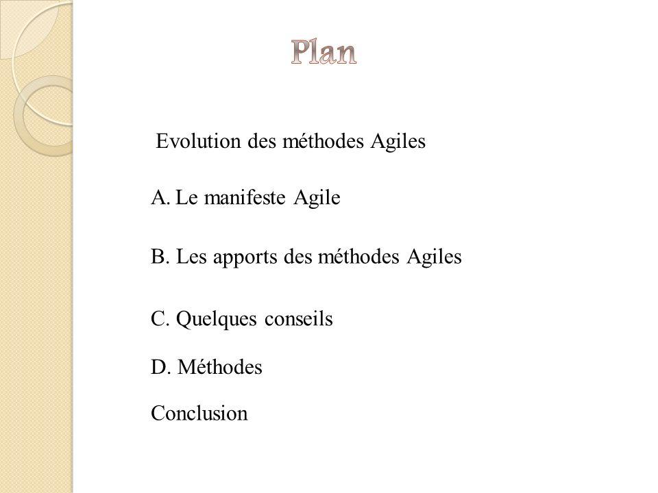 Plan Evolution des méthodes Agiles Le manifeste Agile