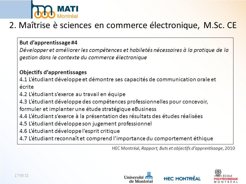 2. Maîtrise è sciences en commerce électronique, M.Sc. CE