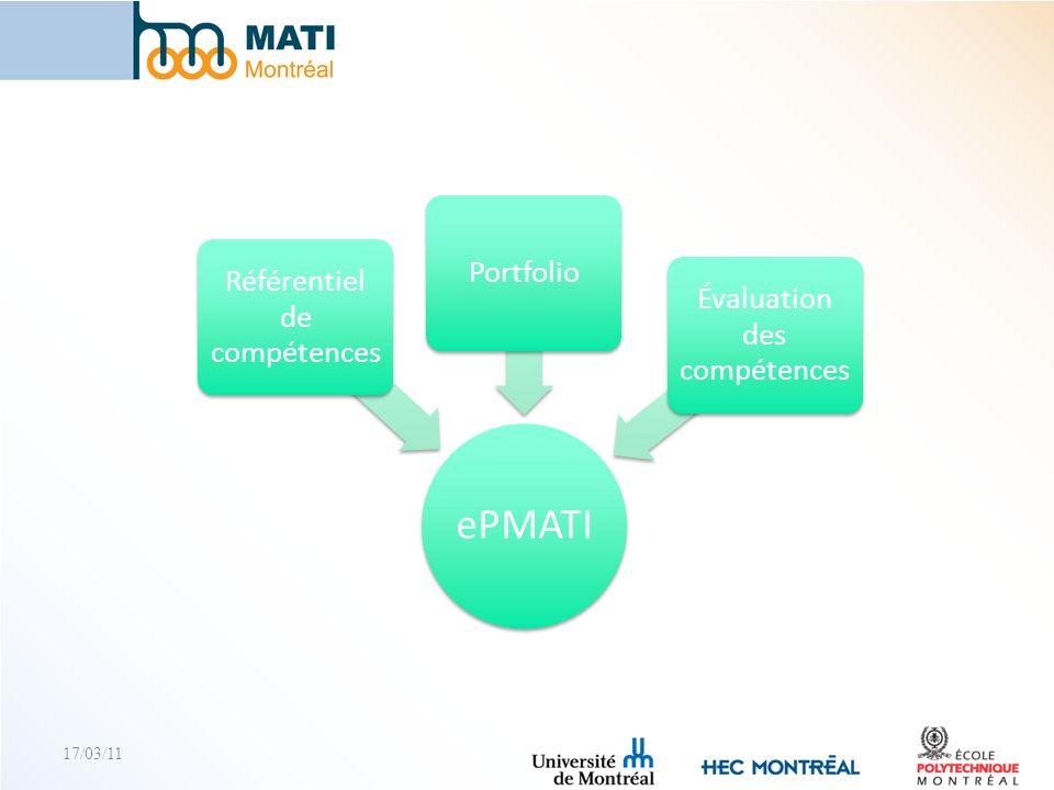 ePMATI Portfolio Référentiel de compétences Évaluation des compétences