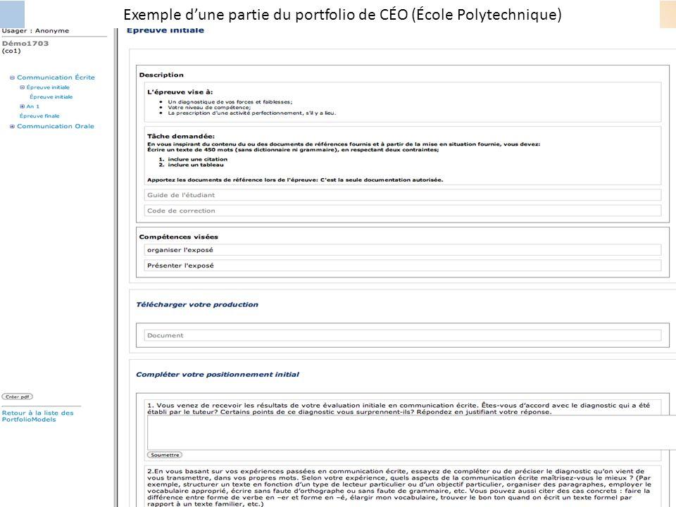 Exemple d'une partie du portfolio de CÉO (École Polytechnique)