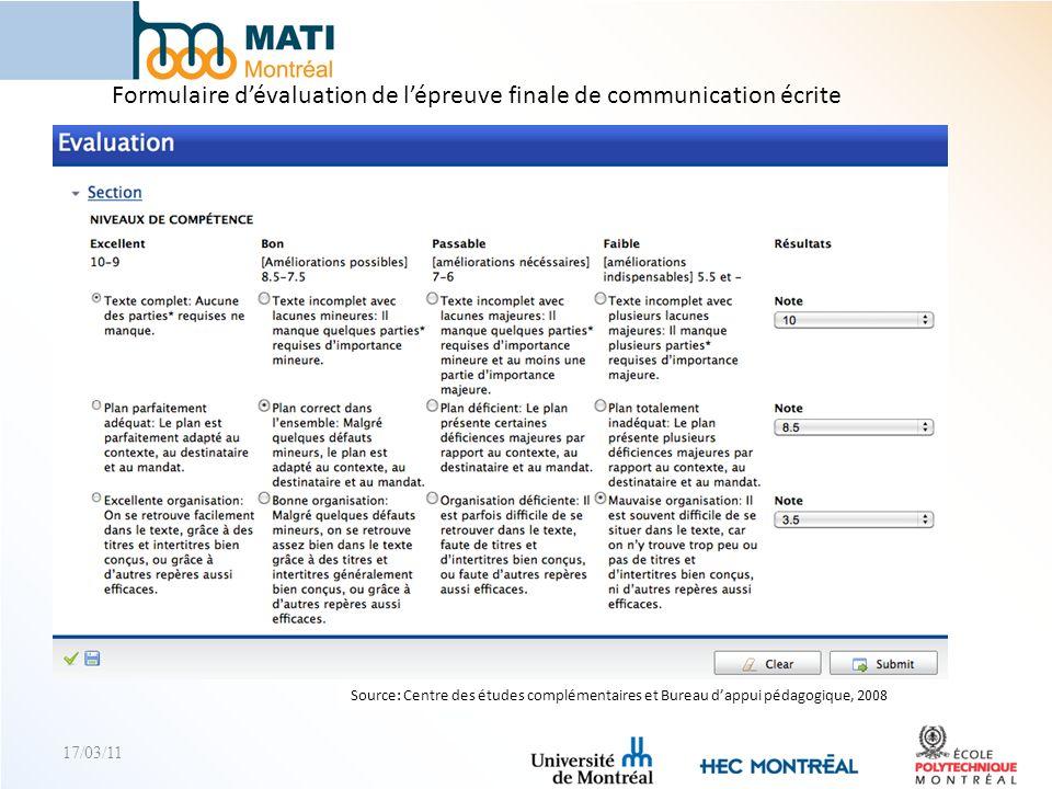 Formulaire d'évaluation de l'épreuve finale de communication écrite
