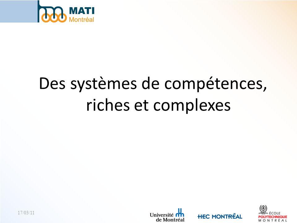 Des systèmes de compétences, riches et complexes