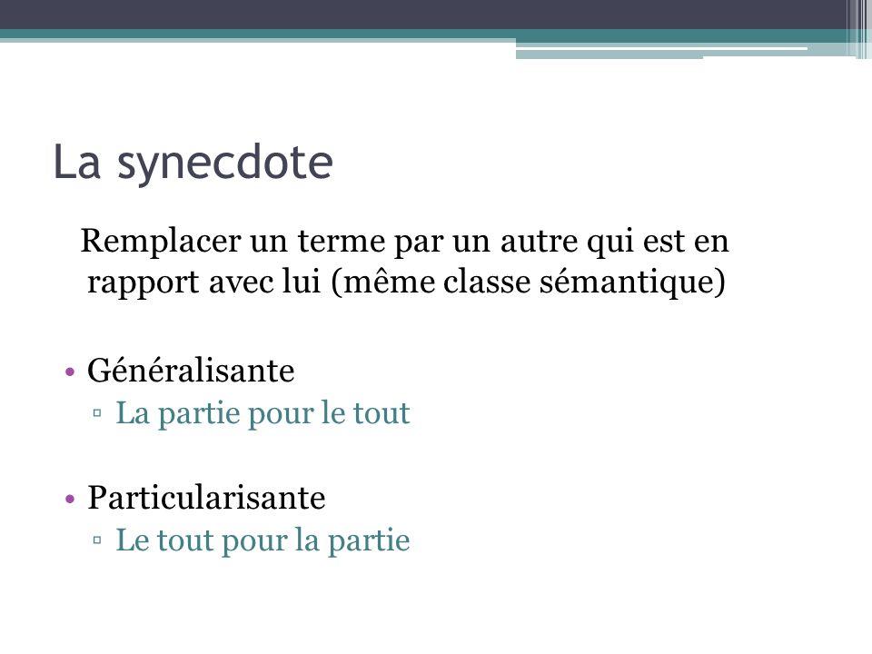 La synecdote Remplacer un terme par un autre qui est en rapport avec lui (même classe sémantique) Généralisante.