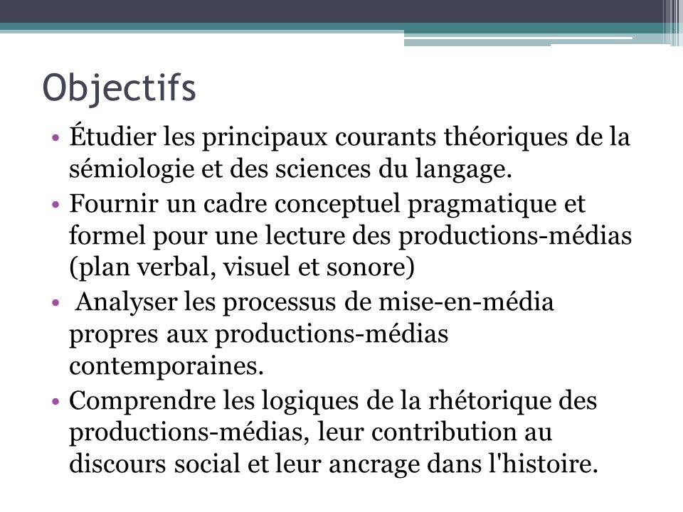 Objectifs Étudier les principaux courants théoriques de la sémiologie et des sciences du langage.