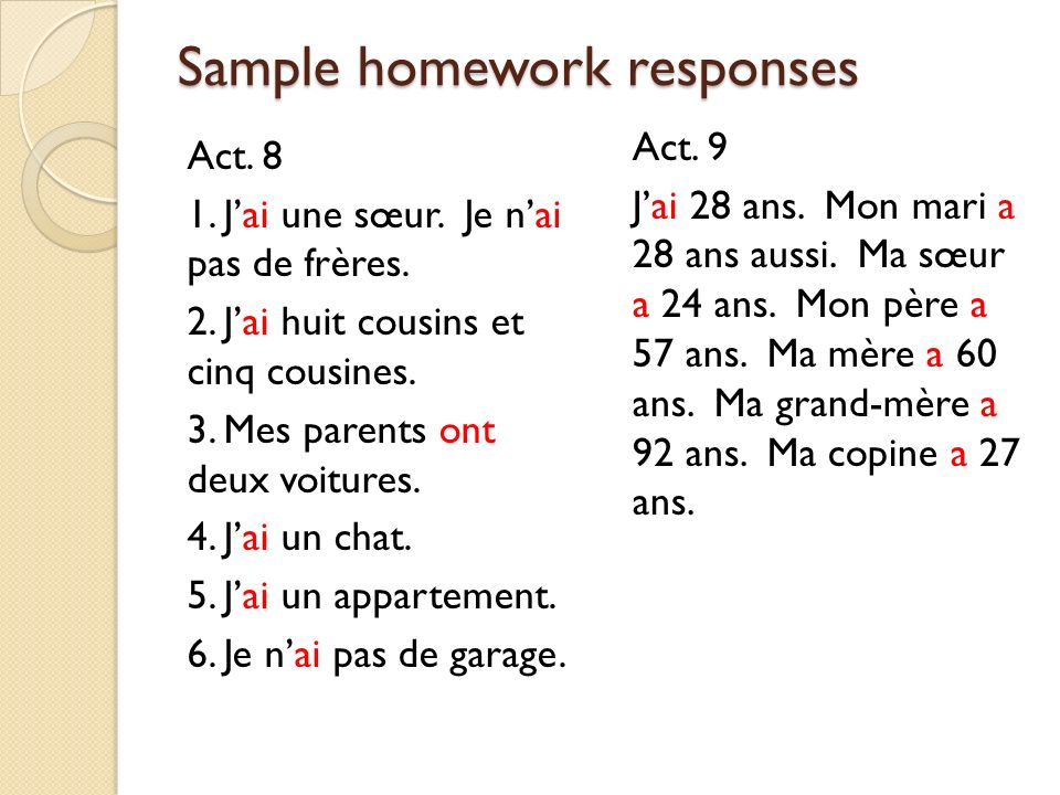 Sample homework responses
