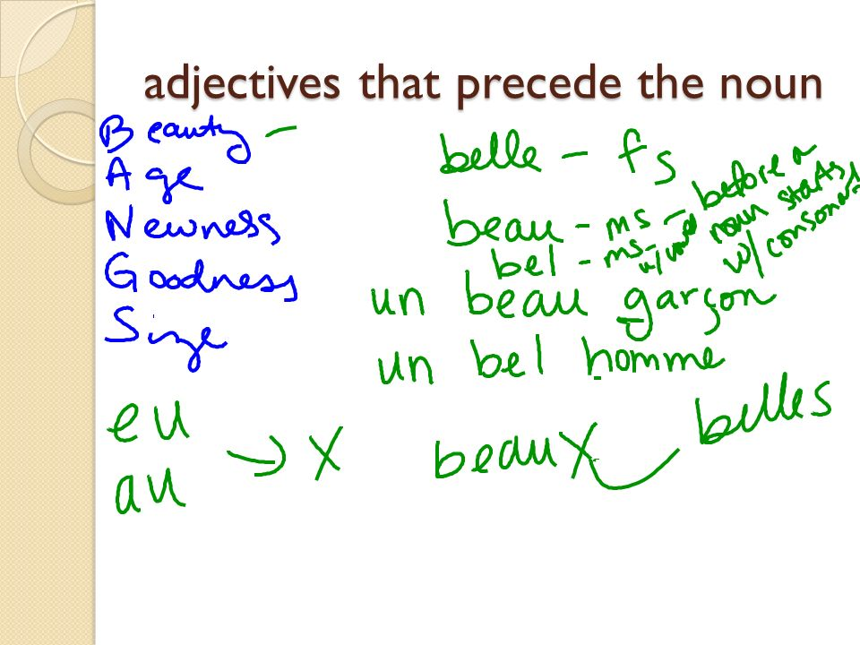 adjectives that precede the noun