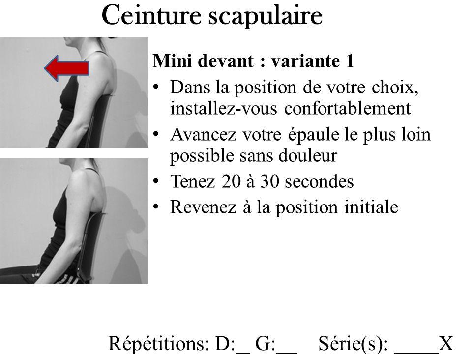 Ceinture scapulaire Répétitions: D: G: Série(s): X