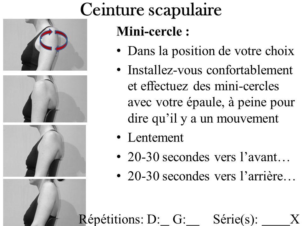 Ceinture scapulaire Mini-cercle : Dans la position de votre choix