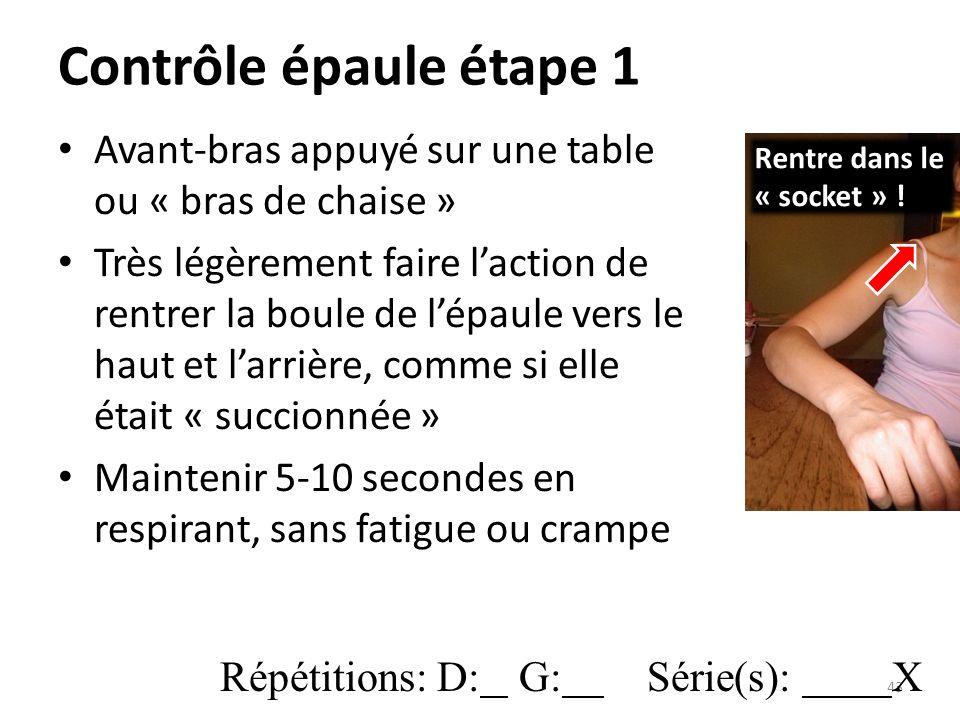 Contrôle épaule étape 1 Avant-bras appuyé sur une table ou « bras de chaise »