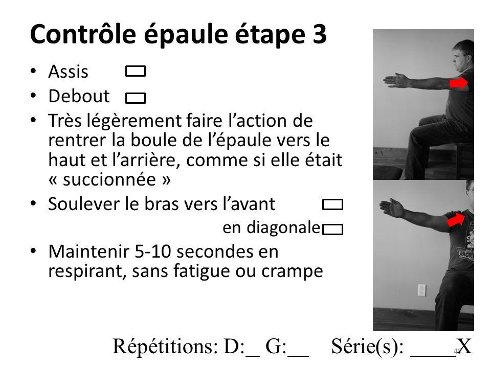 Contrôle épaule étape 3 Répétitions: D: G: Série(s): X Assis Debout