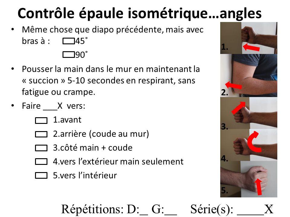 Contrôle épaule isométrique…angles