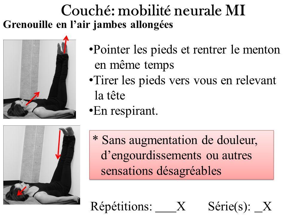Couché: mobilité neurale MI