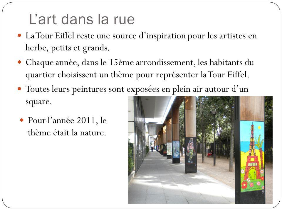 L'art dans la rue La Tour Eiffel reste une source d'inspiration pour les artistes en herbe, petits et grands.