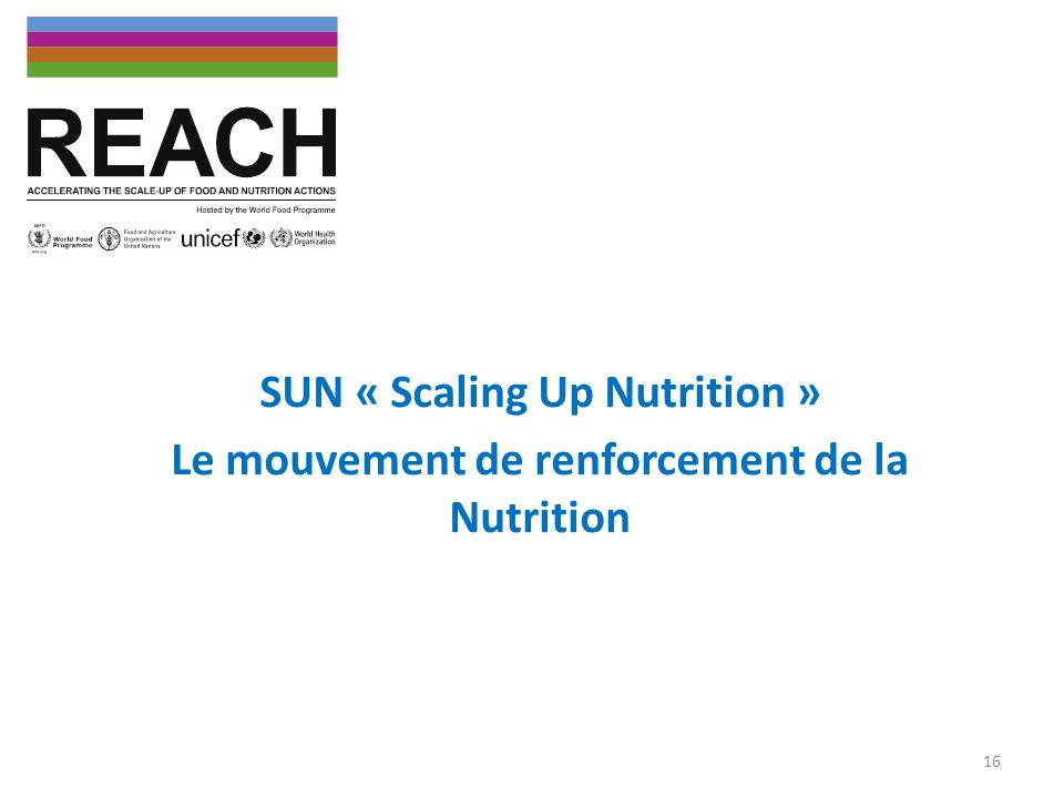 SUN « Scaling Up Nutrition » Le mouvement de renforcement de la Nutrition