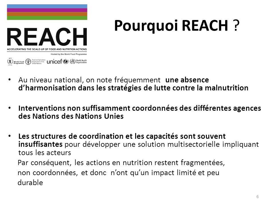 Pourquoi REACH Au niveau national, on note fréquemment une absence d'harmonisation dans les stratégies de lutte contre la malnutrition.