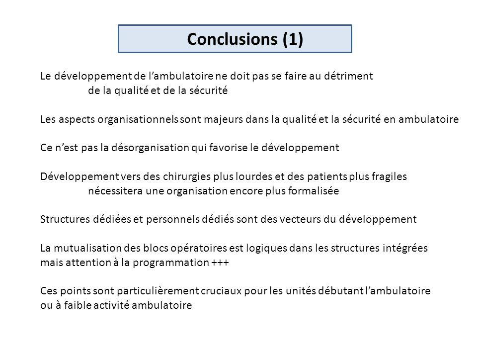 Conclusions (1) Le développement de l'ambulatoire ne doit pas se faire au détriment. de la qualité et de la sécurité.