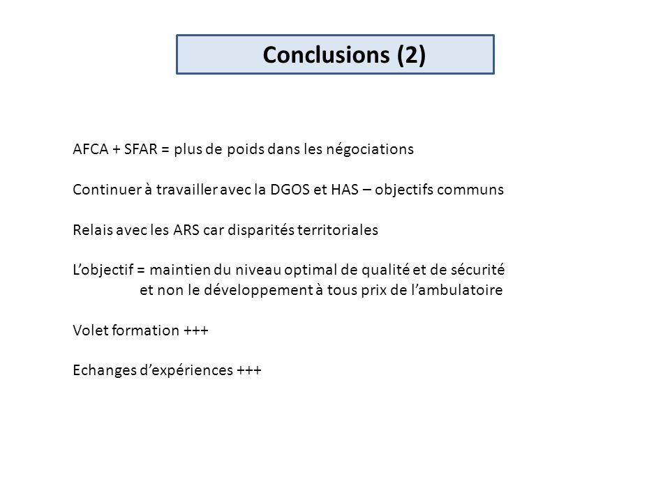 Conclusions (2) AFCA + SFAR = plus de poids dans les négociations