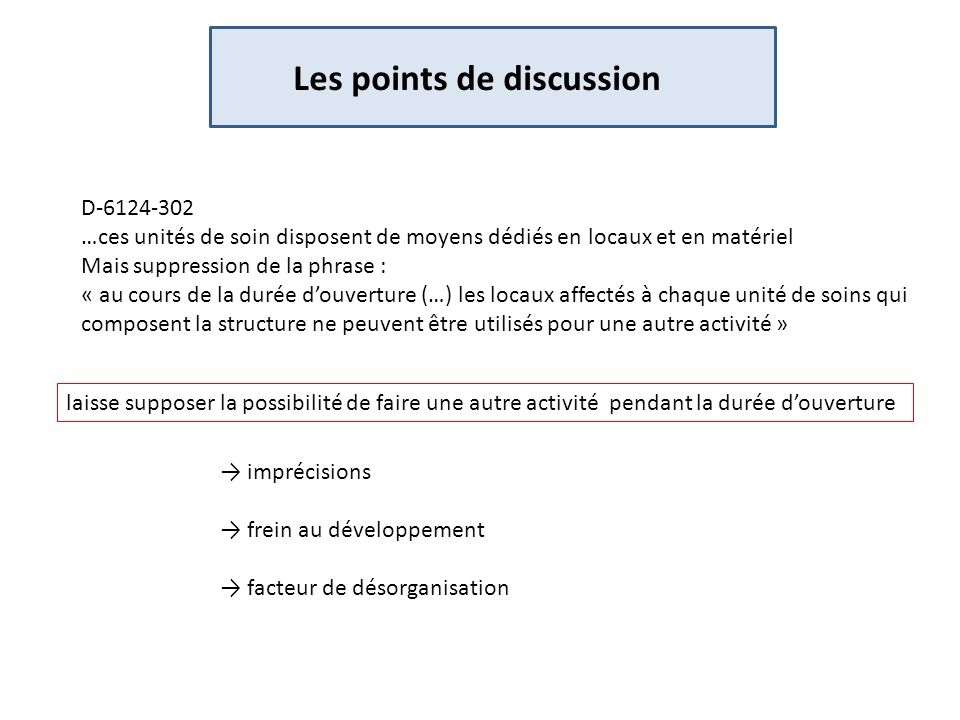 Les points de discussion