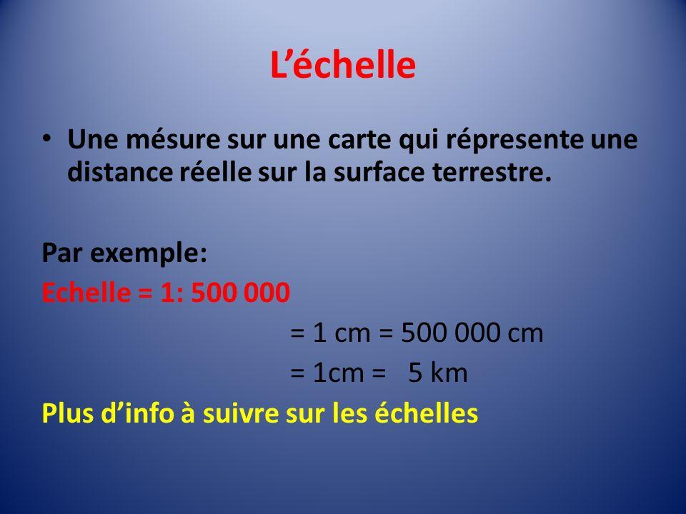 L'échelle Une mésure sur une carte qui répresente une distance réelle sur la surface terrestre. Par exemple: