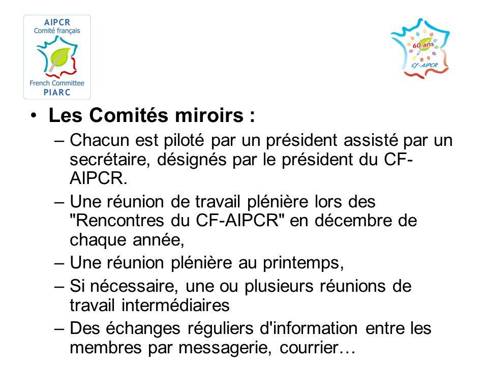 Les Comités miroirs : Chacun est piloté par un président assisté par un secrétaire, désignés par le président du CF-AIPCR.
