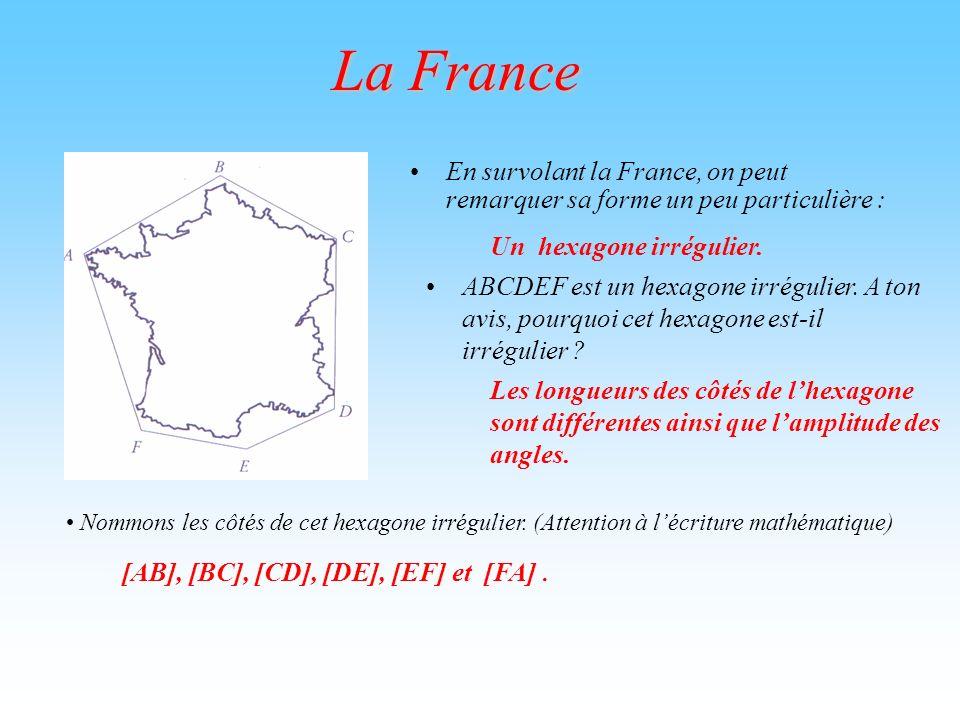 La France En survolant la France, on peut remarquer sa forme un peu particulière : Un hexagone irrégulier.