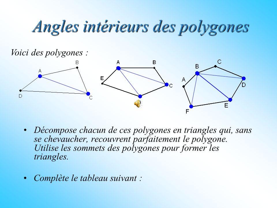 Angles intérieurs des polygones