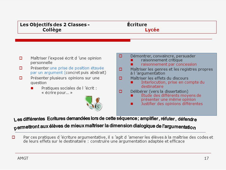Les Objectifs des 2 Classes - Écriture Collège Lycée