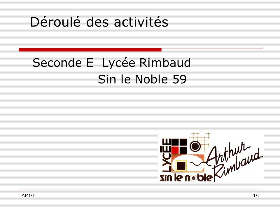 Déroulé des activités Seconde E Lycée Rimbaud Sin le Noble 59 AMGT