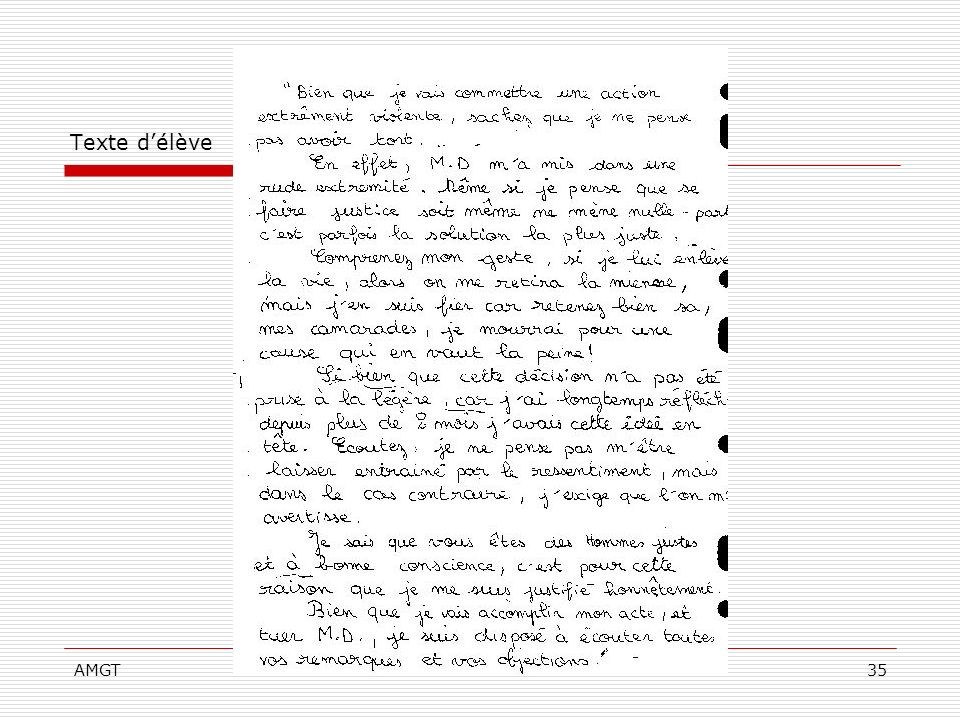 Texte d'élève AMGT
