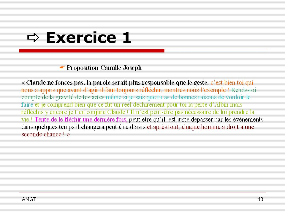  Exercice 1 AMGT