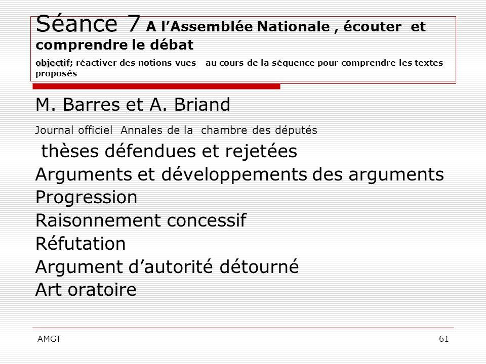 Séance 7 A l'Assemblée Nationale , écouter et comprendre le débat objectif; réactiver des notions vues au cours de la séquence pour comprendre les textes proposés
