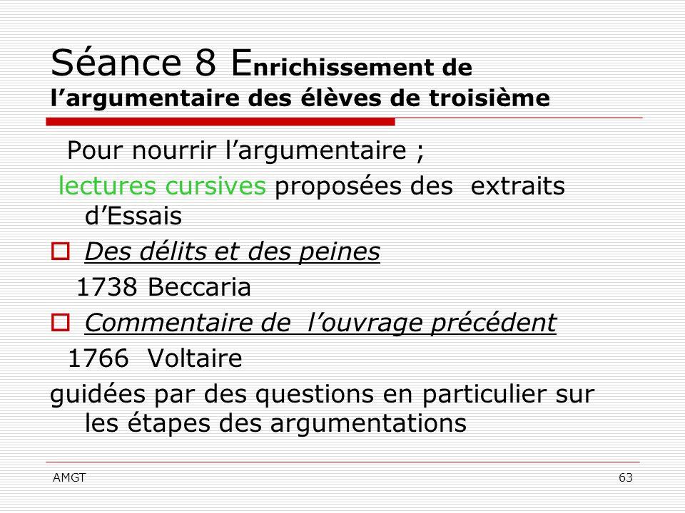 Séance 8 Enrichissement de l'argumentaire des élèves de troisième