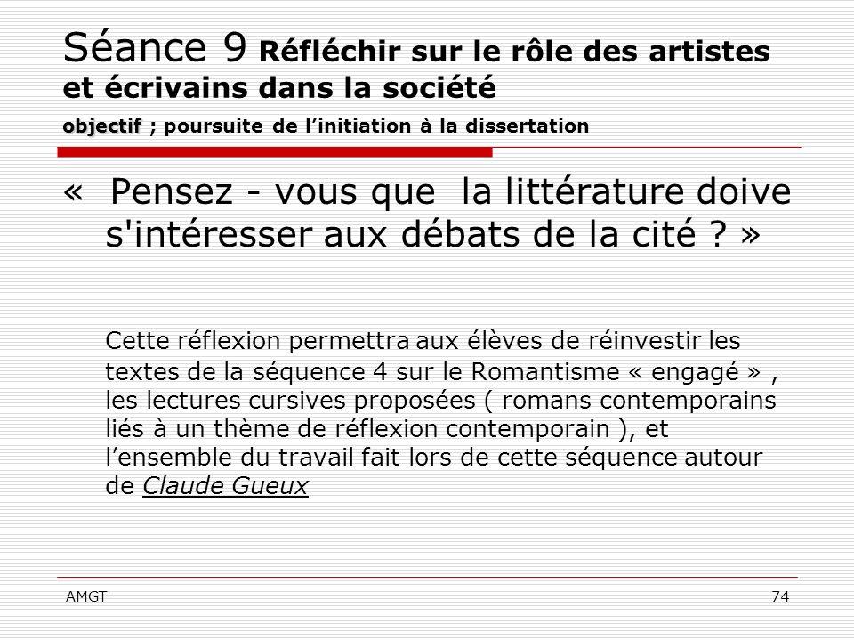 Séance 9 Réfléchir sur le rôle des artistes et écrivains dans la société objectif ; poursuite de l'initiation à la dissertation